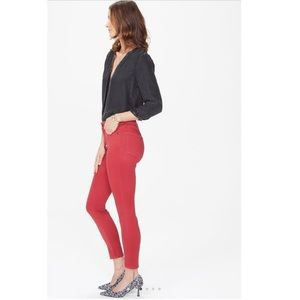 NYDJ bright red ankle skinny crop stretchy jeans